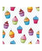 Feest cupcakesprint servetjes 20 x