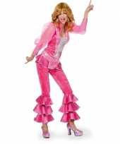 Feest dames disco kostuum roze zilver