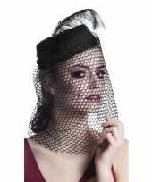 Feest dames hoeden met sluier zwart
