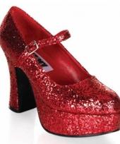 Feest damesschoenen glitter rood
