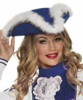 Feest dansmarietje blauwe hoed voor dames