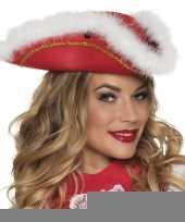Feest dansmarietje rode hoed met witte rand