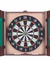Feest dartbord in cabinet met 6 dartpijlen