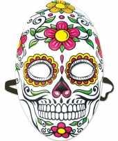 Feest day of the dead sugarskull gezichtsmasker voor dames