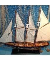 Feest decoratie houten model driemaster zeilschip 64 cm