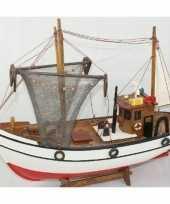 Feest decoratie houten model kotter zeilboot 39 cm
