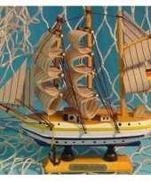 Feest decoratie houten model schip gorch fock 16 cm