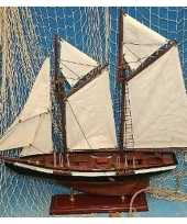 Feest decoratie houten model tweemaster zeilschip 50 cm