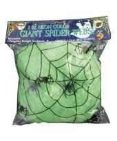 Feest decoratie spinnenweb groen 50 gram