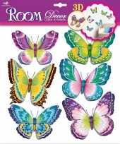 Feest decoratie stickers groene paarse vlinders 3d 6 stuks