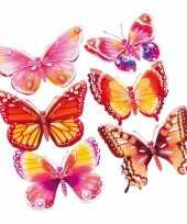 Feest decoratie stickers roze oranje vlinders 3d 6 stuks