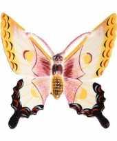 Feest decoratie vlinder wit geel 17 cm kunststof