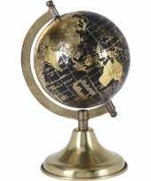 Feest decoratie wereldbol globe goud zwart op metalen voet 13 x 24 cm