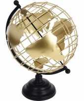 Feest decoratie wereldbol globe zwart goud metaal 28 x 35 cm
