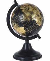 Feest decoratie wereldbol globe zwart goud op metalen voet 13 x 24 cm