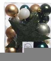 Feest dennengroen goud wit kerstballen pakket met piek 33 stuks