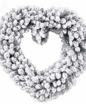 Feest deur decoratie kerstkrans hart besneeuwd 50 cm