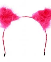 Feest diadeem pluche roze oren voor volwassenen