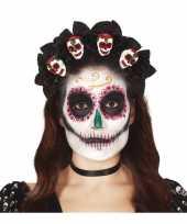 Feest diadeem tiara met rozen en schedels voor dames