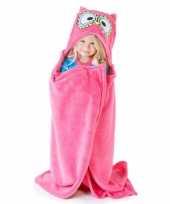 Feest dieren fleece cape roze uil 100 x 130 cm
