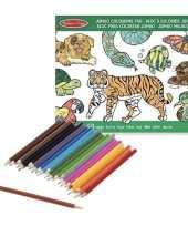 Feest dieren kleurboek met kleurpotloden set