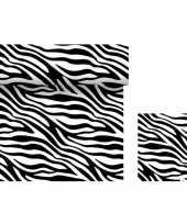 Feest dieren thema tafeldecoratie set zebra print tafelloper servetten
