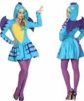 Feest dierenpak blauwe draak verkleed kostuum jurk voor dames
