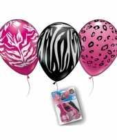 Feest dierenprint ballonnen 12 stuks