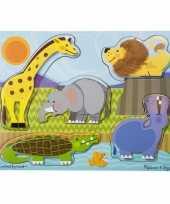 Feest dierentuindiertjes puzzel 5 stukjes