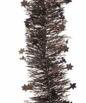 Feest donker bruine kerstversiering folie slinger met ster 270 cm