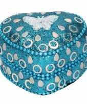 Feest doosje voor melktanden vlinder blauw 6 cm