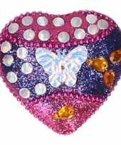 Feest doosje voor melktanden vlinder roze blauw 6 cm