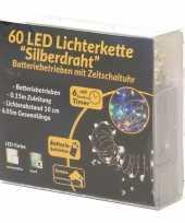 Feest draadverlichting zilver met gekleurde led lampjes 6 meter op batterijen met timer