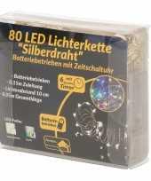 Feest draadverlichting zilver met gekleurde led lampjes 8 meter op batterijen met timer