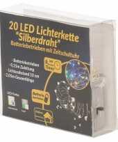 Feest draadverlichting zilver met warm witte led lampjes 2 meter op batterijen met timer