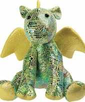 Feest draken speelgoed artikelen draak knuffelbeest groen 23 cm