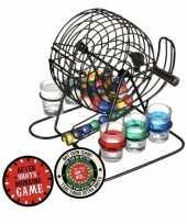 Feest drankspel bingo shotspel met 6 shotglazen en after shots viltjes