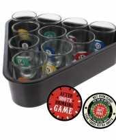 Feest drankspel drinkspel biljart shotglaasjes met after shots viltjes