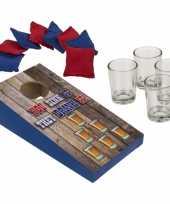 Feest drankspel pittenzak gooien shotspel met 4 shotglaasjes