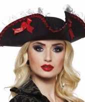 Feest driesteek carnavalshoed zwart rood