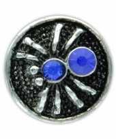Feest drukknoop blauw spinnetje voor chunk sieraad 1 8 cm