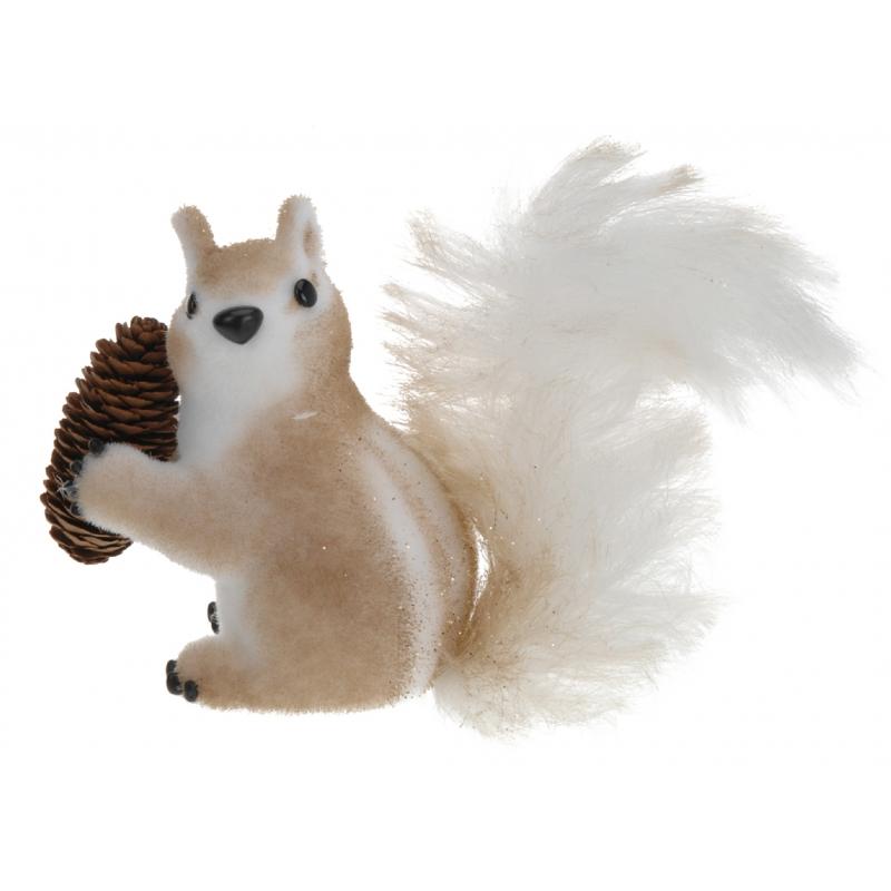 Feest eekhoorn met dennenappel 16 cm type 2