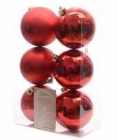 Feest elegant christmas kerstboom decoratie kerstballen rood 6 x