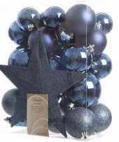 Feest elegant christmas kerstboom decoratie set blauw 33 delig