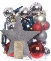 Feest elegant christmas kerstboom decoratie set zilver rood 33 delig