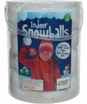 Feest emmer met 20x witte sneeuwballen 8 cm sneeuwversiering