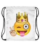 Feest emoticon gymtasje knipoog met kroon