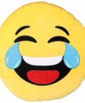 Feest emoticon kussen lachend 50 cm
