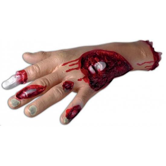 Feest enge halloween decoratie bloederige hand