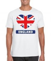 Feest engeland hart vlag t-shirt wit heren